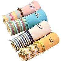 cosanter 4Bleistift Tasche Linien Leinwand Sweet Smile Muster Make-up-Pinsel Tasche für Mädchen Studenten