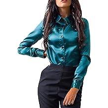 SHOBDW Mujeres Carniva Moda Botón Camisa Blusa Casual Tops Manga Larga