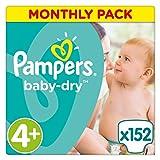 Pampers, Pannolini Baby Dry, misura 4+ (9 - 18 kg), confezione mensile, 152 Pezzi