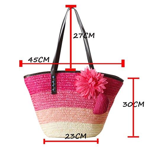 YOUJIA Damen Strandtaschen Stroh Taschen Totes Blumen Handtaschen Shopper Boho Schultertaschen #1 Armee Grün