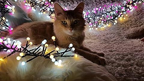 Lichterkette 400 LEDs Kugeln Deko Licht von Colleer, 3M 8 Modi LED lichterkette String Licht, Innen-Außen Deko für Weihnachten Hochzeit Party Weihnachtsbaum (Weiß/Rosa)