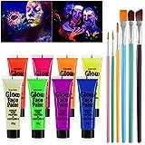 NUOLUX Gesicht Schwarzlicht-Körperfarbe Schminke 8 Fluoreszierende Farben und 6 stücke Pinsel
