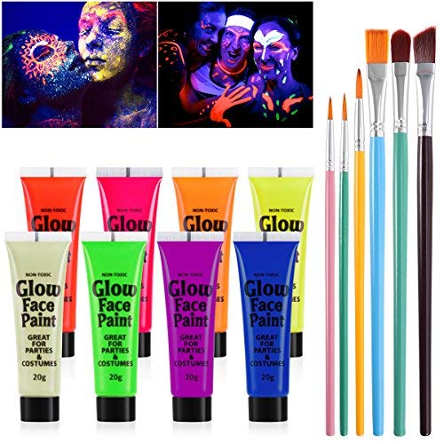 TOYMYTOY UV Glow UV-Licht Gesicht Schwarzlicht-Körperfarbe Schminke 8 Fluoreszierende Farben und 6 stücke Pinsel