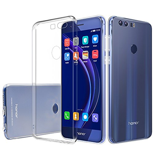 Preisvergleich Produktbild Huawei Honor 8 Hülle, Rusee Ultra Dünn Crystal Clear Bumper Transparent Soft-Flex Handyhülle TPU-Bumper Weiche Silikon Durchsichtige Schutzhülle Rückschale für Huawei Honor 8 Tasche Case Cover