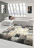 Traum Teppich Barock-Design Kurzflor Braun Taupe Grau Cream Elegant Größe 80x150 cm