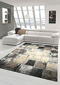 Designer Teppich Moderner Teppich Wohnzimmer Teppich Kurzflor Teppich Barock Design Meliert Karo Design In Braun Grau Creme Grosse 160x230 Cm