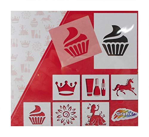 Basteln & Kreativ 6 Zeichenschablonen 15 x 15 cm Krone Einhorn Cup Cake Lippenstift Blume Prinzessin Schablone Deko GAC D27