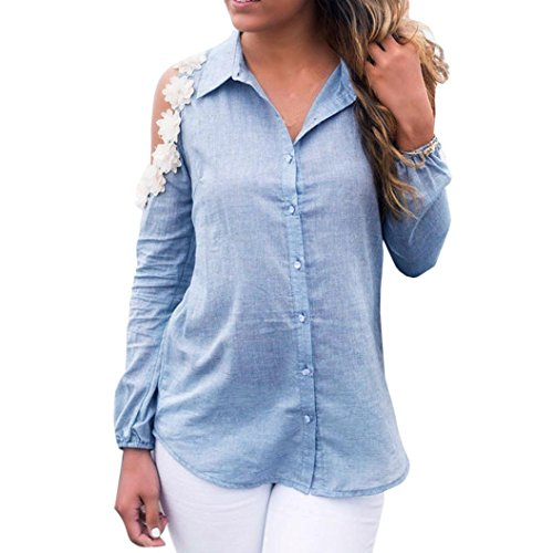 Sannysis Damen Tops Langarm Hemd Casual T-Shirt Blau Bluse (XL, Blau) (Handwäsche, Viskose)