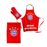 FC Bayern Rekord Grillmeister 3-tlg. Grillset 65% Polyester + 35% Baumwolle