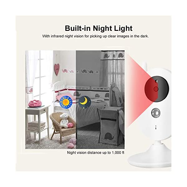 """SONEW Wireless Video Baby Monitor,3.5"""" LCD Digital Screen for Signal Transmission Support Night Vision Two-Way Talk Temperature Sensor Voice Activation Lullabies Multi-Language Sonew 【TEMPERATURE SENSOR】Constantly monitors the temperature in your baby's room and alerts you when it is too hot or too cold.When you find that the temperature of your baby's room is too high or too low, you can add a bedding or reduce the bedding to your baby in time to prevent your baby from getting sick due to temperature. 【TWO-WAY TALK】Built-in advanced microphone and speaker for clear two-way audio conversations. Not only can you see what's happening, but also send voice commands, and talk with your little one. Transmitting distance is up to 1,000 ft.Parents must hope to witness each stage of their child's growth. Talking is a very important stage. With this product, you can communicate with your baby at any time, hear your baby's voice, and witness your baby's growth. 【SOUND-ACTIVATED LED LIGHTS 】Allows you to see how much noise your baby is making in case he/she is crying.You must hope to stay with your baby all the time, but because of work or some other reason, you may not be able to stay with your baby all the time, but with this product, you can observe every detail of the baby, once the baby is crying You can find it by activating the LED light. 7"""