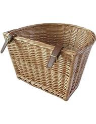 Retro Fahrradkorb aus Weidengeflecht, mit Lederriemen, handgefertigt
