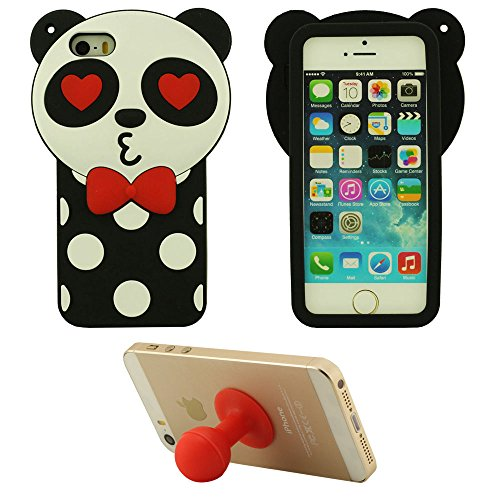 Doux Rubber Silicone Gel Coque 3D Cartoon Animal Panda Forme Mode Housse de protection Case pour Apple iPhone 5 5S 5C / iPhone SE Anti choc + Silicone Titulaire rouge