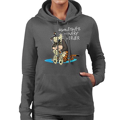 Star Wars Leia Calvin And Hobbes Farewell Committee Women's Hooded Sweatshirt Charcoal