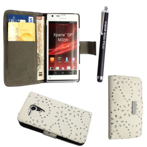 SONY XPERIA SP M35H VARIOUS PU LEATHER MAGNETIC FLIP CASE SKIN COVER POUCH + FREE STYLUS (White Diamond Book)