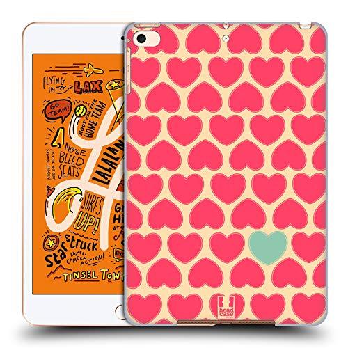 Head Case Designs Gelb BG Pink Herz Muster Harte Rueckseiten Huelle kompatibel mit iPad Mini (2019) Harte Herzen