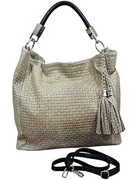 Made in Italy Schultertasche Damen Bag Shopper Leder Vintage geflochten Natur