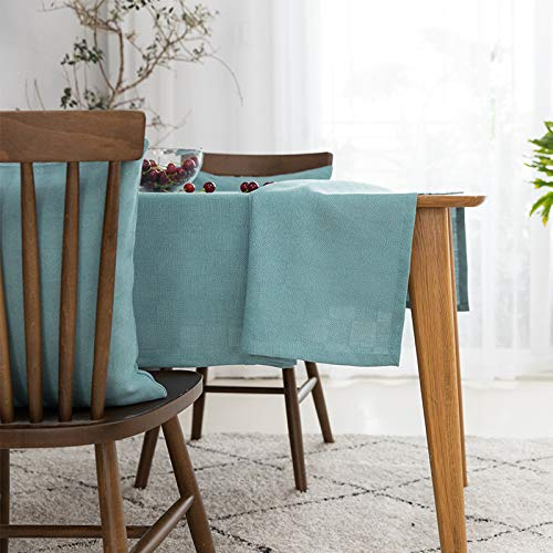 Abwaschbar, Leinen Tischtuch, Weißweizen Stickerei, Blau-grüne Minimalistische Baumwolltischdecke, Mehrzweck-innen-esszimmer Küche Im Freien 140x220cm ()