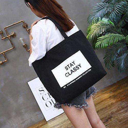 Bluelans moda borsa di tela leggera spalla shopping borsa a tracolla, Tela, Black, 46cm x 9cm x 35cm/18.11 x 3.54 x 13.78 Black