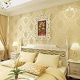 MDDW-Kontinentale stereoskopische 3D geprägtes Vlies Tapeten, grüne Tapete Schlafzimmer Wohnzimmer Tapete , styles of gold (yellow)