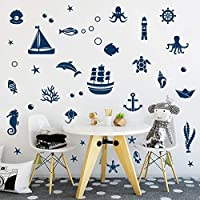 Arttop Ocean Sea Life Wall Decal with Sailboat Octopus Turtle, Undersea Creature Sticker for Window Kids Room, Nautical-Themed Party Decoration
