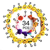 Moobom Mini Emoji Keychain, Cute Stuffed Toy Plush pillow Smiley Poop Soft Party Bag Filler Key Ring for Kids Party Supplies Favors, Party Decoration Pack of 34