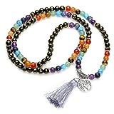 Jovivi joyas piedras Natural collar pulsera retro tibetano Buda india Ágata Mala Recuperación Energía Terapia rezando Yoga 7Chakra pulsera elástica–Árbol de la vida Agata Nera
