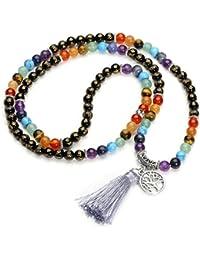 1292e7b82e3e Jovivi Joyas Piedras Natural Collar Pulsera Retro Tibetano Buda India Ágata  Mala Recuperación Energía Terapia Rezando