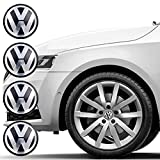 Picture Of Set of 4 Wheel Center Caps for VW, Car Wheel Hubcaps 65mm Outer Diameter, Replacement Wheel Center Caps, Rim Caps, Center Hub Caps