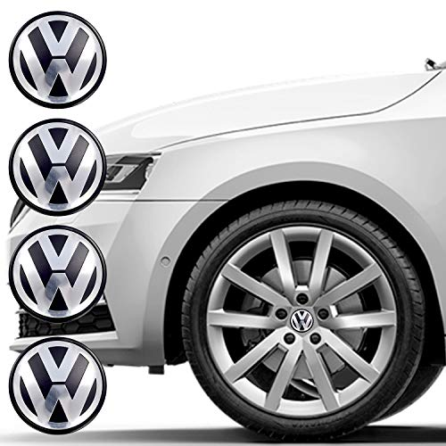 Set of 4 Wheel Center Caps for VW, Car Wheel Hubcaps 65mm Outer Diameter,