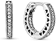 Pandora Women's Hoop Silver Earrings With Clear Cubic Zirconia 15 Mm - 2963