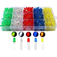 KINYOOO 500pcs x 5mm diodo emisor de luz, difusa 2pin color redondo blanco/rojo/amarillo/verde/azul kit de caja (5 colores x 100pcs)