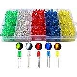 KINYOOO 500 PCS Led Leuchtdioden 5mm, Rund Farbe Dioden 5mm 2-poligen, (5 Farben x 100pcs), Farbe Sortiert Weiß/Rot/Gelb/Grün/Blau Kit Box Set