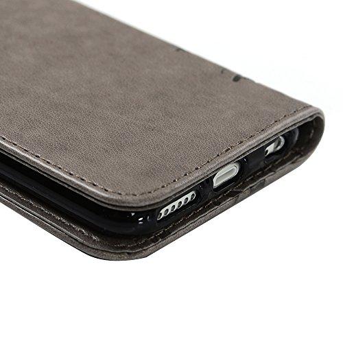 iPhone 6 / 6S Hülle (4,7 Zoll) Wallet Case Flip Hülle YOKIRIN Schmetterling Blumen Muster Schutzhülle PU Leder Brieftasche Ledertasche im Bookstyle für iPhone 6 6S Tasche Rosa Gray