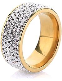 Mcsays - Anillo de compromiso de acero inoxidable con 5 filas de cristal transparente