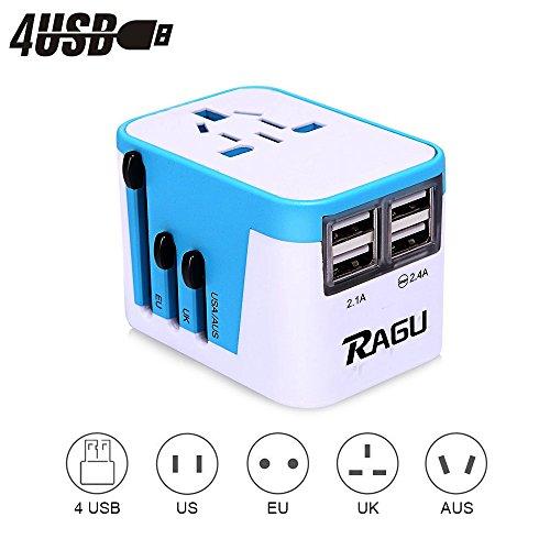 RAGU 4 USB Reiseadapter Universal Ladegerät Ladeanschlüsse & 8Loch-Buchse / reiseadapter für steckdose weltweite Anschlussstecker US/JP UK EU AU/CN mit Schmelzsicherung und Überspannungsschutz Irland-spannung Konverter