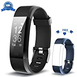 HolyHigh Fitness Armband YG3 Plus HR Pulsuhr Aktivitätstracker mit Herzfrequenz Monitor/wasserdichter /Schrittzähler/Anrufbenachrichtigungen/Ruhemodus/Kamerabedienung für Android und iOS (schwarz + blau)…