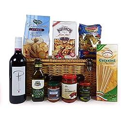 El sabor de Italia - Italiano Vino y Gourmet Trata de mimbre Cesto del regalo Incluye 750 ml Pure de vino tinto - Ideas de regalos para - cumpleaños, navidad, día de padres, día de San Valentín, regalos, cumpleaños, papá, mamá, él, ella