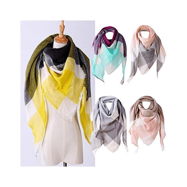 4d627a7229b9 ... foulards, Tefamore Femmes châle en cachemire automne écharpe en laine à  carreaux écharpe