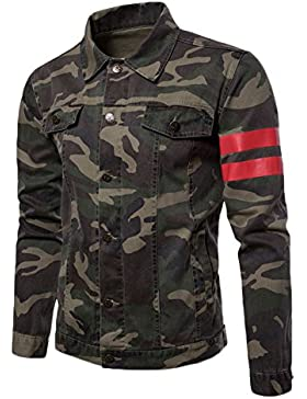 Runyue Chaqueta Vaquera Para Hombre Slim Fit Casual De Mezclilla Mangas Largas Camo Estilo Jacket Verde del Ejército M