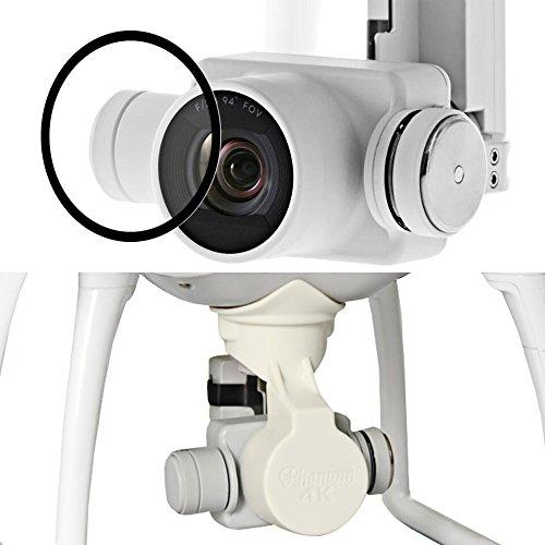 Lens Cap und Patronizer Comprise für DJI Mirage 4 Video Drone Quadcopter, AFUNTA Kunststoff-Objektivabdeckung und Anti-Kratzer gehärtetes Glas für Symbolic-signature 4