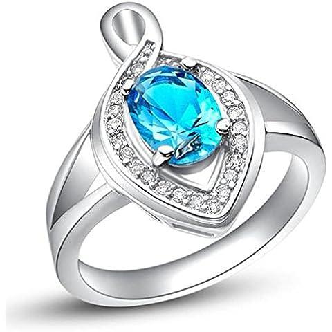 Vmculb Joyería Manera Anillo Chapado en Oro Mujer Plata Cristal Austriaco CZ con Circonitas Diamantes Imitación Pavé Anillos de Eternidad