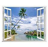 Mar Playa Playa Dormitorio 3D Ventana Falsa Pegatinas De Pared Sala De Estar Decoración Restaurante Hotel Mural Pegatinas Pegatinas 60X90 Cm