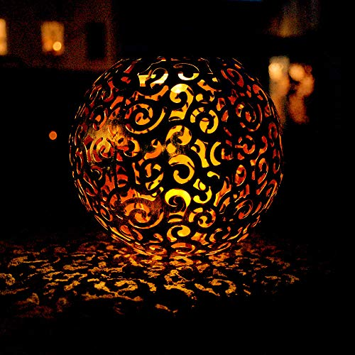 LED Solar Steck Lampe Dekor Geflecht Kugel Erdspieß Garten Außen Leuchte rostfarben Globo 33743R