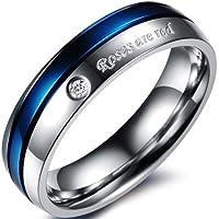 JewelryWe Acciaio inossidabile anello da uomo donna blu placcato Centro due pezzi Promessa elegante vintage