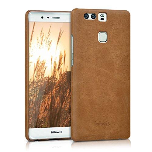 kalibri-Echtleder-Backcover-Hlle-fr-Huawei-P9-Leder-Case-Cover-Schutzhlle-in-Cognac