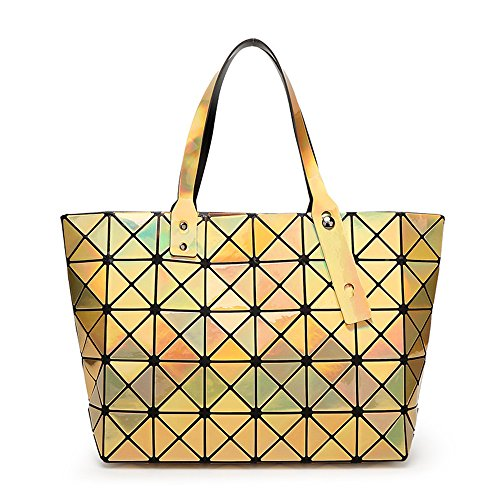 BUOU Shopper Taschen Frauen Handtaschen Plaid Geometrie Tasche Folding Damen Tote (Gold) (Plaid Handtasche)