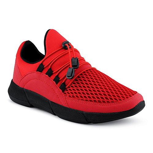 FiveSix Herren Sneaker Sportschuhe Fitnessschuhe Netz Freizeitschuhe Low Top Schuhe Rot EU 40
