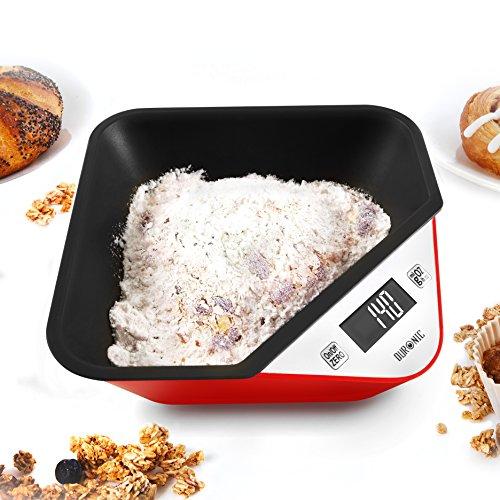 Duronic KS100 RD Digitale Küchenwaage / Digitalwaage / Elektronische Waage mit abnehmbarer Schüssel, LCD Display, 5 kg, Tara-Funktion