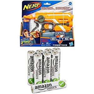 NERF N-Strike Elite Firestrike Blaster with AmazonBasics AAA Performance Alkaline Batteries