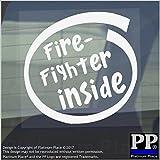 1x Fire Fighter inside-window, Auto, Van, Aufkleber, Zeichen, Fahrzeug, selbstklebend, Sicherheit, Hilfe, Sicherheit, Feuerlöscher, Decke, EXIT, Alarm, Wasser, Truck, Schutzbekleidung
